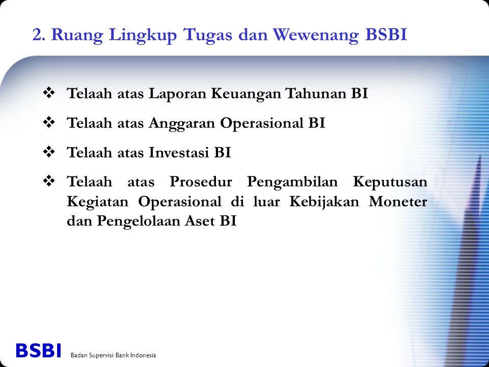 2. Ruang Lingkup Tugas dan Wewenang BSBI  Telaah atas Laporan Keuangan Tahunan BI  Telaah atas Anggaran Operasional BI  Telaah atas Investasi BI 