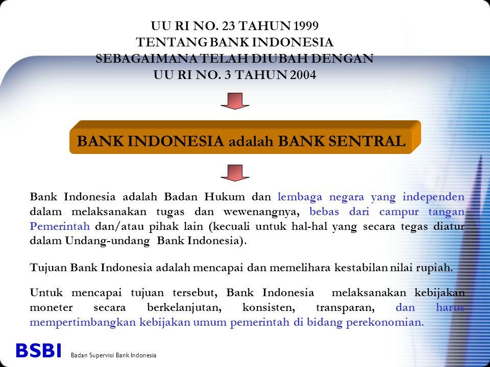 UU RI NO. 23 TAHUN 1999 TENTANG BANK INDONESIA SEBAGAIMANA TELAH DIUBAH DENGAN UU RI NO. 3 TAHUN 2004 Bank Indonesia adalah Badan Hukum dan lembaga ne