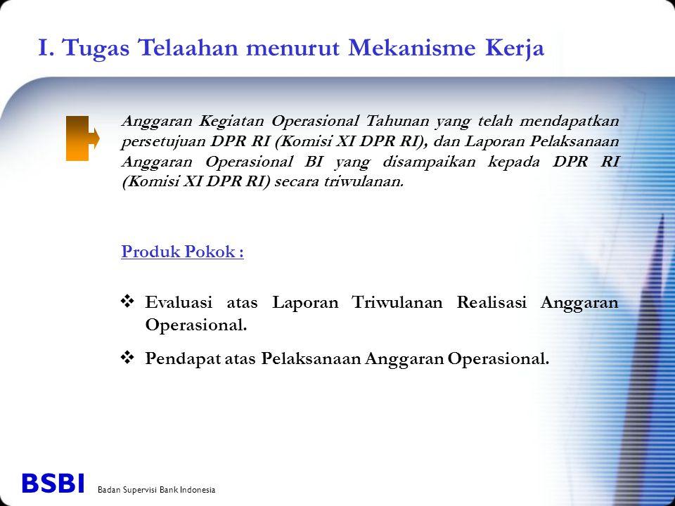 I. Tugas Telaahan menurut Mekanisme Kerja Anggaran Kegiatan Operasional Tahunan yang telah mendapatkan persetujuan DPR RI (Komisi XI DPR RI), dan Lapo