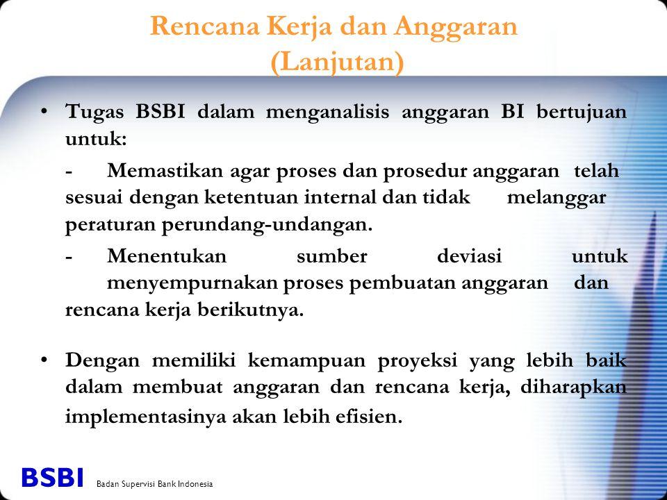 Tugas BSBI dalam menganalisis anggaran BI bertujuan untuk: -Memastikan agar proses dan prosedur anggaran telah sesuai dengan ketentuan internal dan ti