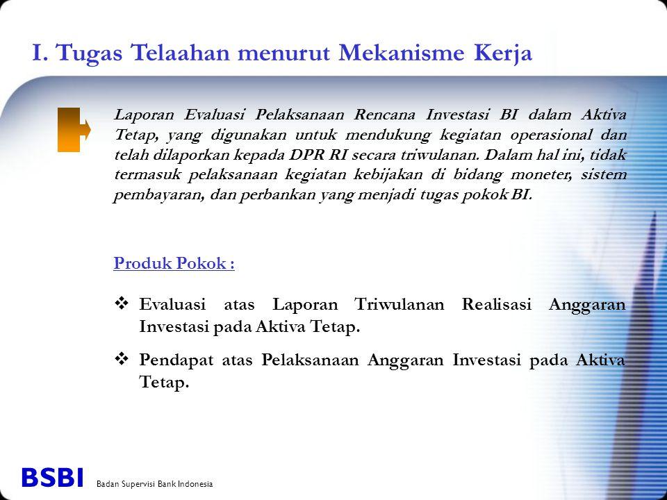 I. Tugas Telaahan menurut Mekanisme Kerja Laporan Evaluasi Pelaksanaan Rencana Investasi BI dalam Aktiva Tetap, yang digunakan untuk mendukung kegiata