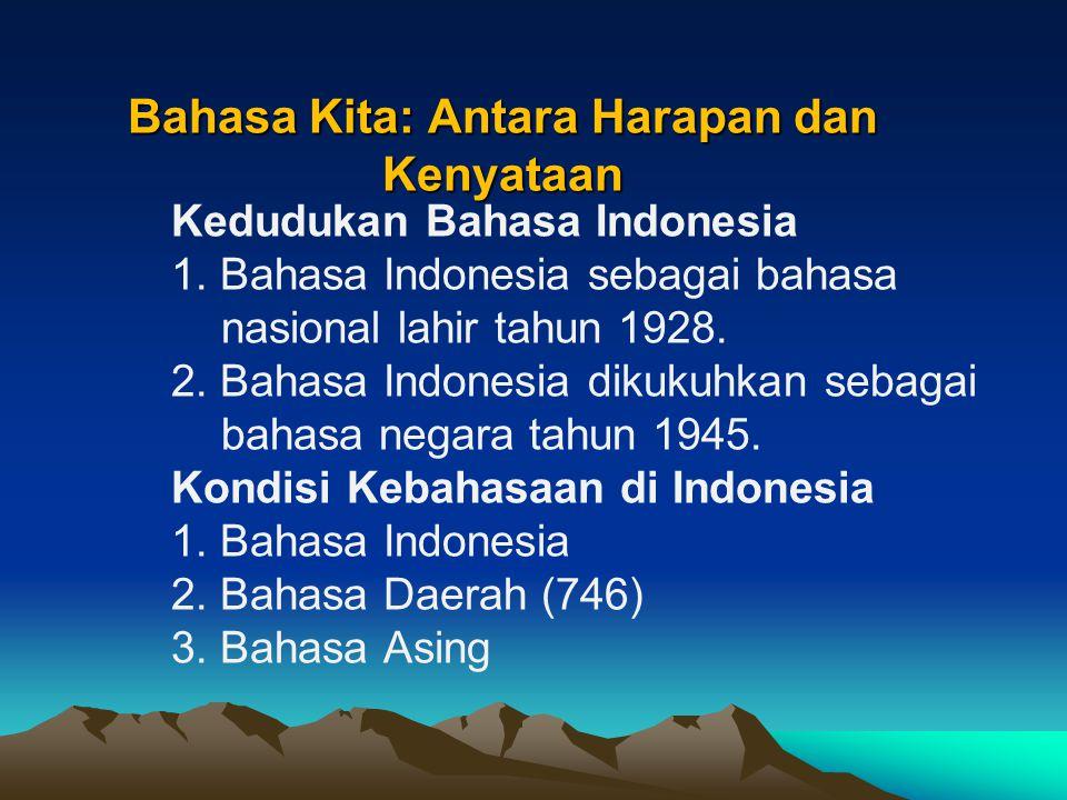 Bahasa Kita: Antara Harapan dan Kenyataan Kedudukan Bahasa Indonesia 1.