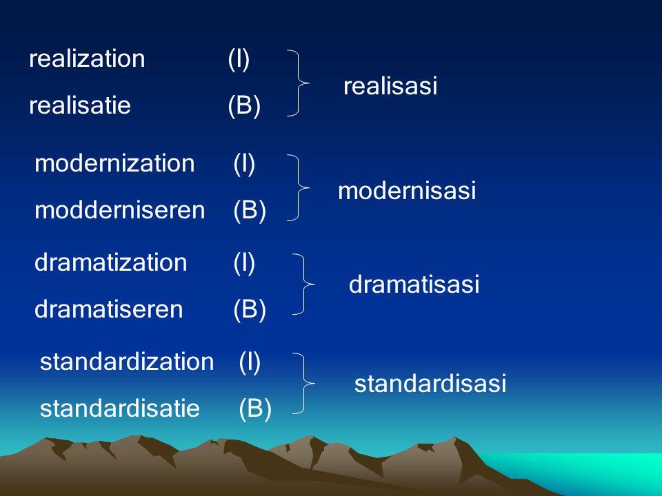 realization(I) realisatie(B) realisasi modernization(I) modderniseren(B) modernisasi dramatization(I) dramatiseren(B) dramatisasi standardization(I) standardisatie(B) standardisasi