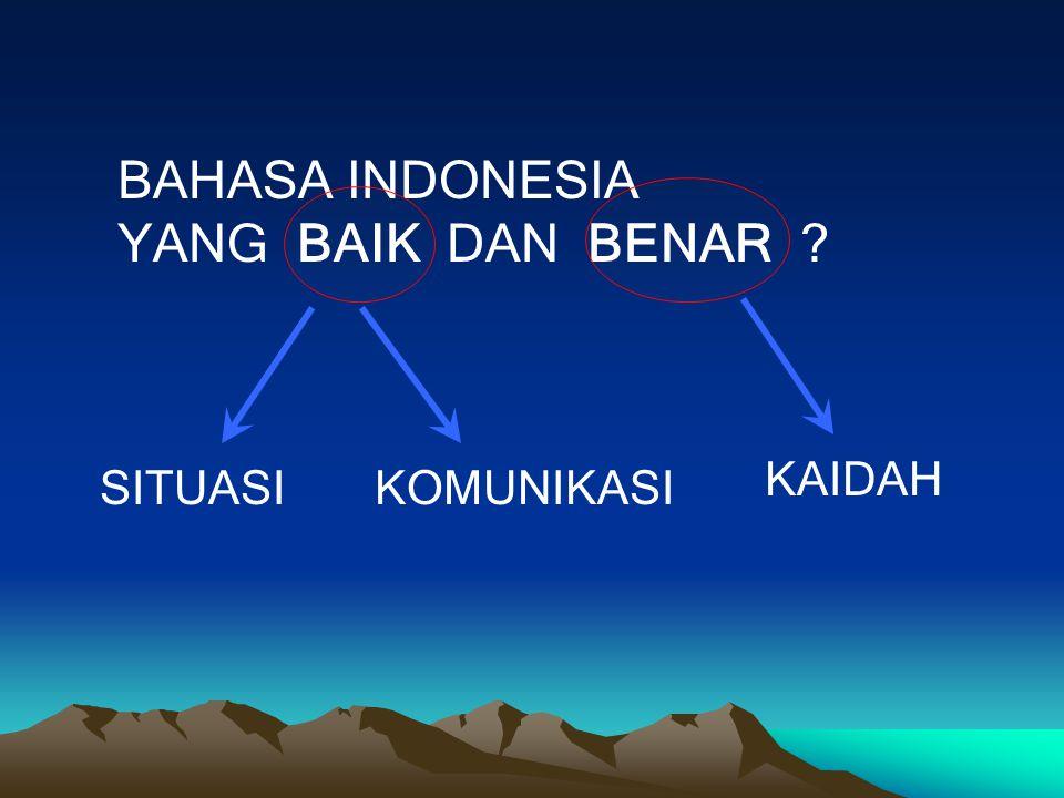 BAHASA INDONESIA YANG BAIK DAN BENAR ? KAIDAH KOMUNIKASISITUASI