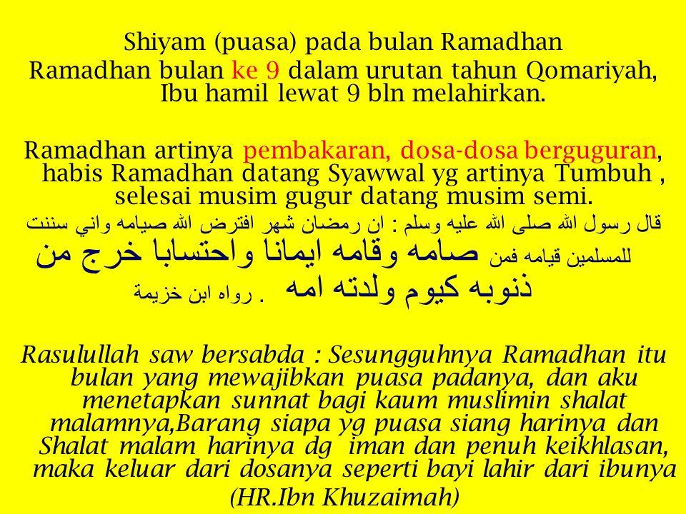 Shiyam (puasa) pada bulan Ramadhan Ramadhan bulan ke 9 dalam urutan tahun Qomariyah, Ibu hamil lewat 9 bln melahirkan.