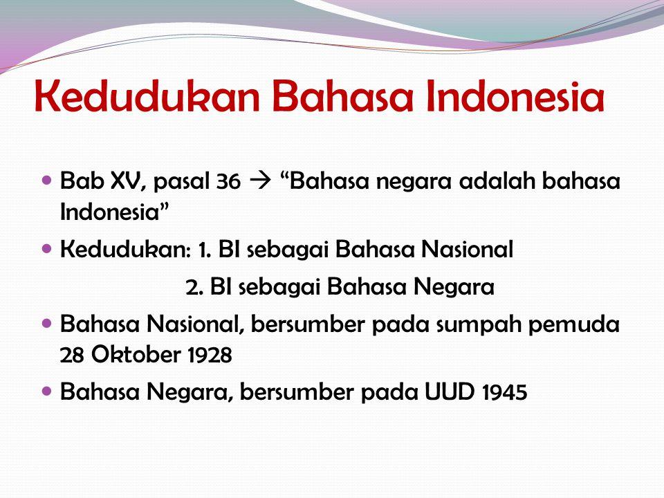"Kedudukan Bahasa Indonesia Bab XV, pasal 36  ""Bahasa negara adalah bahasa Indonesia"" Kedudukan: 1. BI sebagai Bahasa Nasional 2. BI sebagai Bahasa Ne"