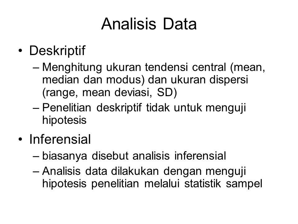 Analisis Data Deskriptif –M–Menghitung ukuran tendensi central (mean, median dan modus) dan ukuran dispersi (range, mean deviasi, SD) –P–Penelitian de