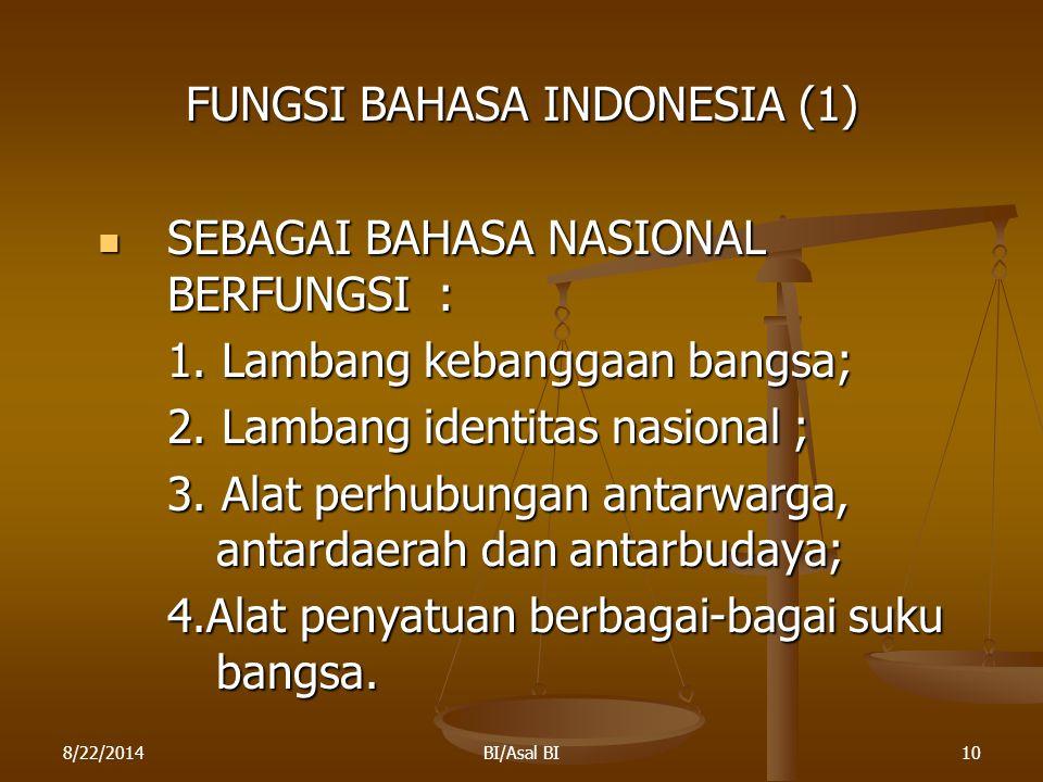 8/22/2014BI/Asal BI10 FUNGSI BAHASA INDONESIA (1) SEBAGAI BAHASA NASIONAL BERFUNGSI : SEBAGAI BAHASA NASIONAL BERFUNGSI : 1. Lambang kebanggaan bangsa