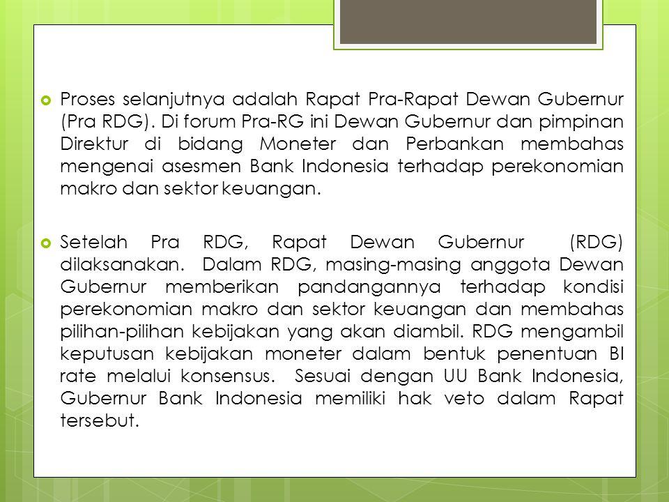  Proses selanjutnya adalah Rapat Pra-Rapat Dewan Gubernur (Pra RDG).