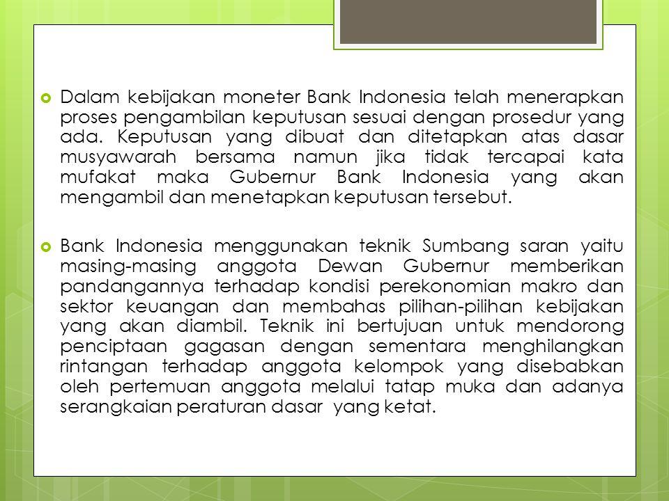  Dalam kebijakan moneter Bank Indonesia telah menerapkan proses pengambilan keputusan sesuai dengan prosedur yang ada.