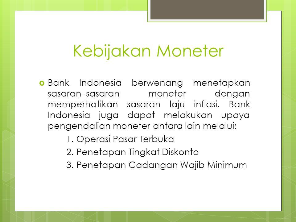 Kebijakan Moneter  Bank Indonesia berwenang menetapkan sasaran–sasaran moneter dengan memperhatikan sasaran laju inflasi.
