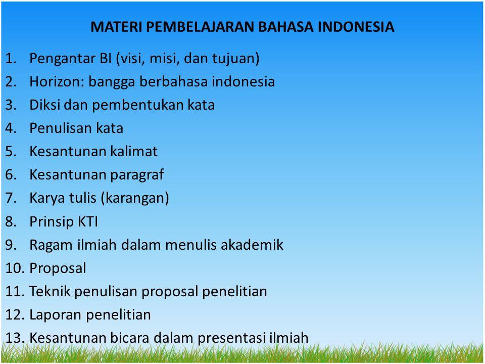 MATERI PEMBELAJARAN BAHASA INDONESIA 1.Pengantar BI (visi, misi, dan tujuan) 2.Horizon: bangga berbahasa indonesia 3.Diksi dan pembentukan kata 4.Penulisan kata 5.Kesantunan kalimat 6.Kesantunan paragraf 7.Karya tulis (karangan) 8.Prinsip KTI 9.Ragam ilmiah dalam menulis akademik 10.Proposal 11.Teknik penulisan proposal penelitian 12.Laporan penelitian 13.Kesantunan bicara dalam presentasi ilmiah