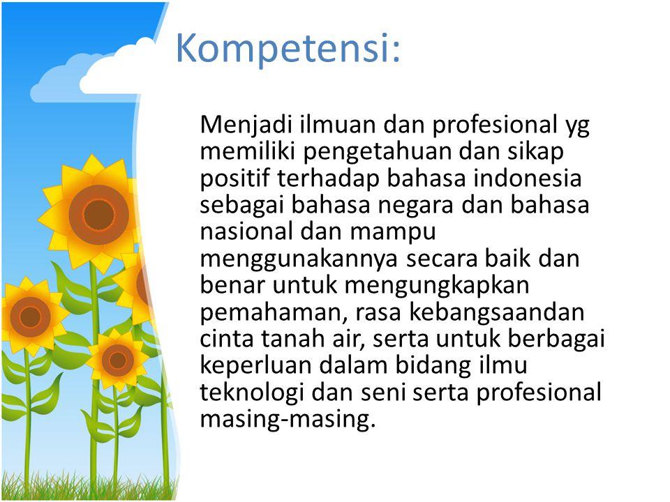 Kedudukan dan Fungsi Bahasa Indonesia Bahasa Indonesia sebagai Bahasa Nasional – Lambang kebanggaan bangsa – Lambang identitas bangsa – Alat pemersatu antarsuku – Alat penghubung antardaerah