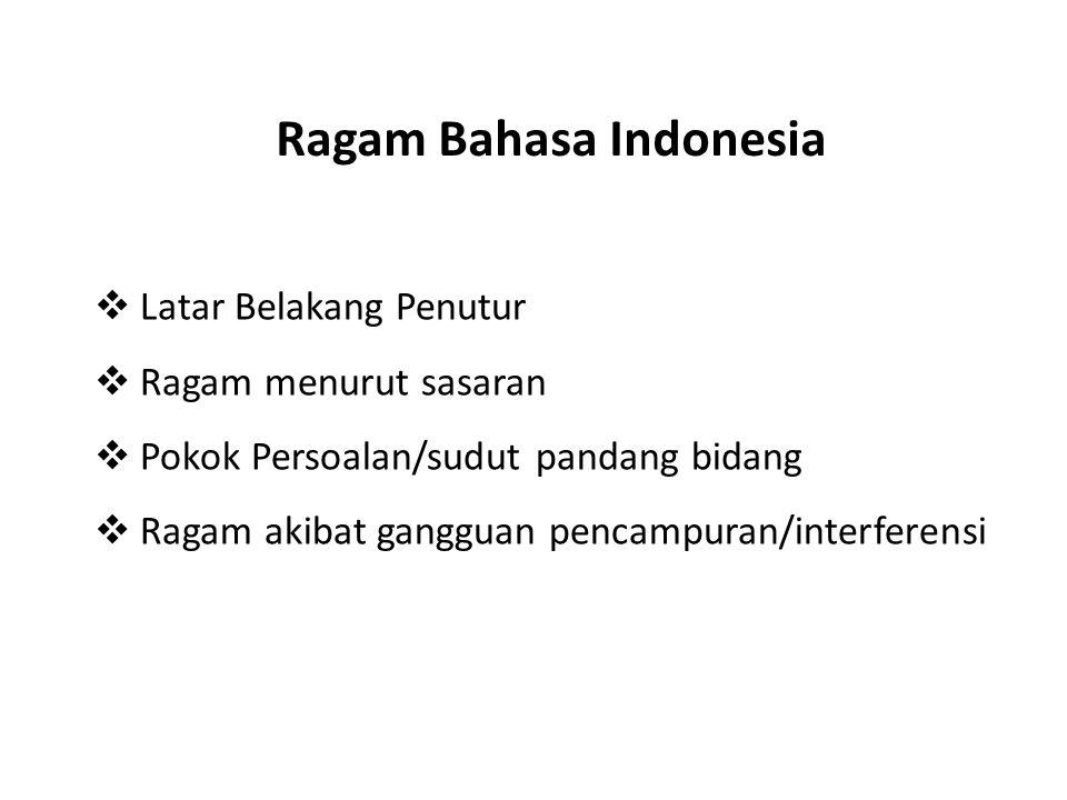 Ragam Bahasa Indonesia  Latar Belakang Penutur  Ragam menurut sasaran  Pokok Persoalan/sudut pandang bidang  Ragam akibat gangguan pencampuran/int