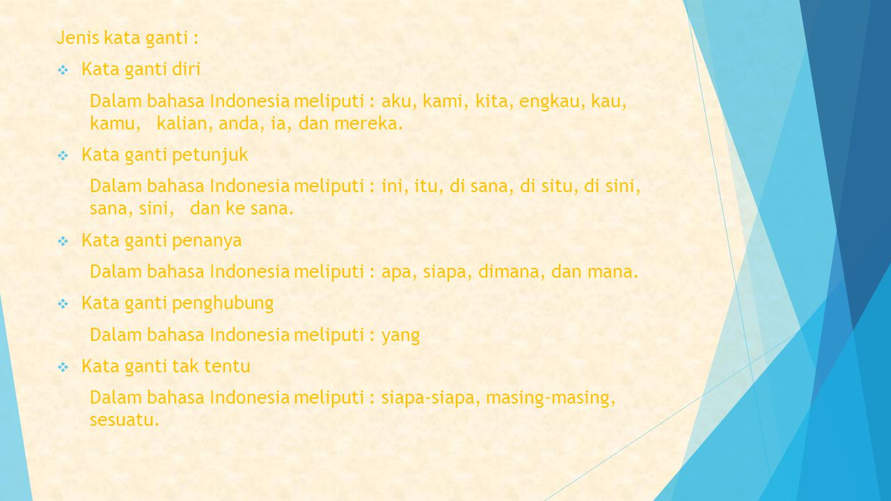 Jenis kata ganti :  Kata ganti diri Dalam bahasa Indonesia meliputi : aku, kami, kita, engkau, kau, kamu, kalian, anda, ia, dan mereka.