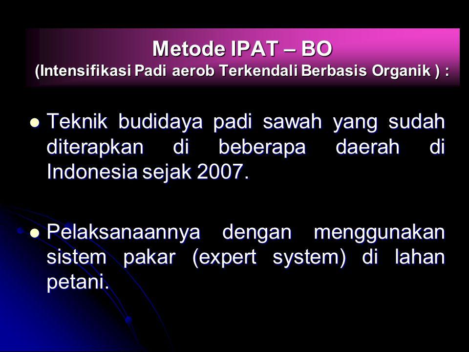 Metode IPAT – BO (Intensifikasi Padi aerob Terkendali Berbasis Organik ) : Teknik budidaya padi sawah yang sudah diterapkan di beberapa daerah di Indo
