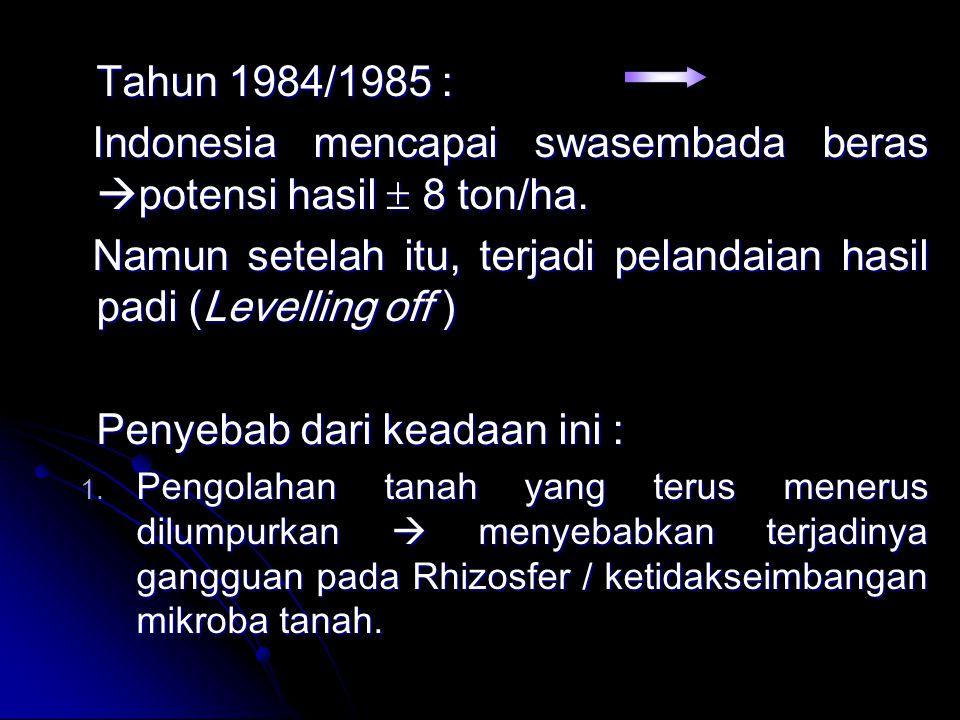 Tahun 1984/1985 : Indonesia mencapai swasembada beras  potensi hasil  8 ton/ha. Indonesia mencapai swasembada beras  potensi hasil  8 ton/ha. Namu