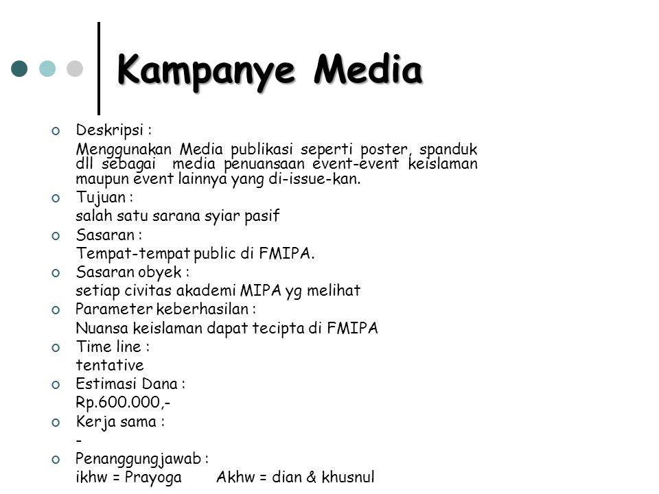 Kampanye Media Deskripsi : Menggunakan Media publikasi seperti poster, spanduk dll sebagai media penuansaan event-event keislaman maupun event lainnya yang di-issue-kan.