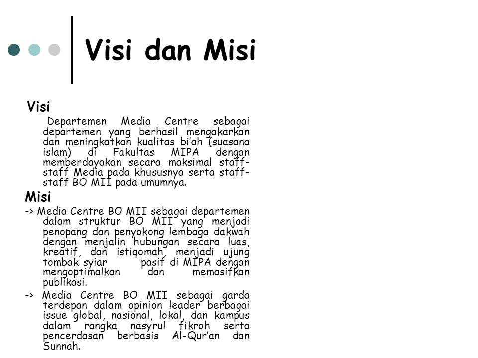 Visi dan Misi Visi Departemen Media Centre sebagai departemen yang berhasil mengakarkan dan meningkatkan kualitas bi'ah (suasana islam) di Fakultas MIPA dengan memberdayakan secara maksimal staff- staff Media pada khususnya serta staff- staff BO MII pada umumnya.
