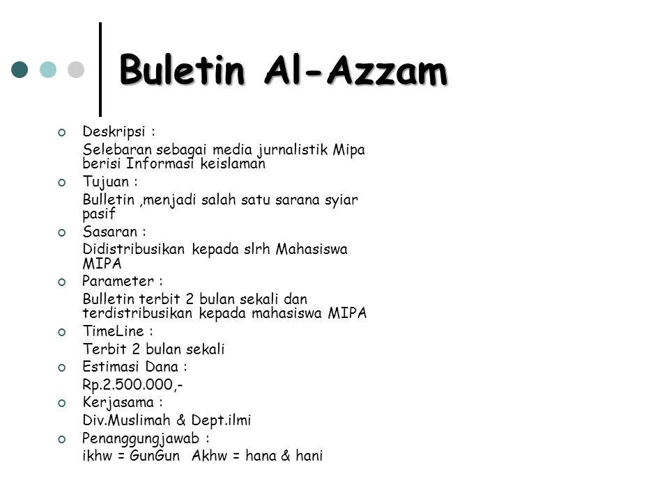 Buletin Al-Azzam Deskripsi : Selebaran sebagai media jurnalistik Mipa berisi Informasi keislaman Tujuan : Bulletin,menjadi salah satu sarana syiar pas