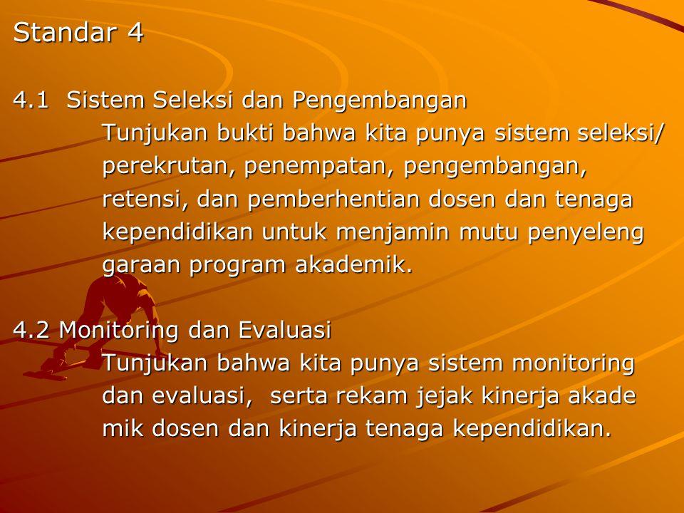 Standar 4 4.1 Sistem Seleksi dan Pengembangan Tunjukan bukti bahwa kita punya sistem seleksi/ Tunjukan bukti bahwa kita punya sistem seleksi/ perekrut