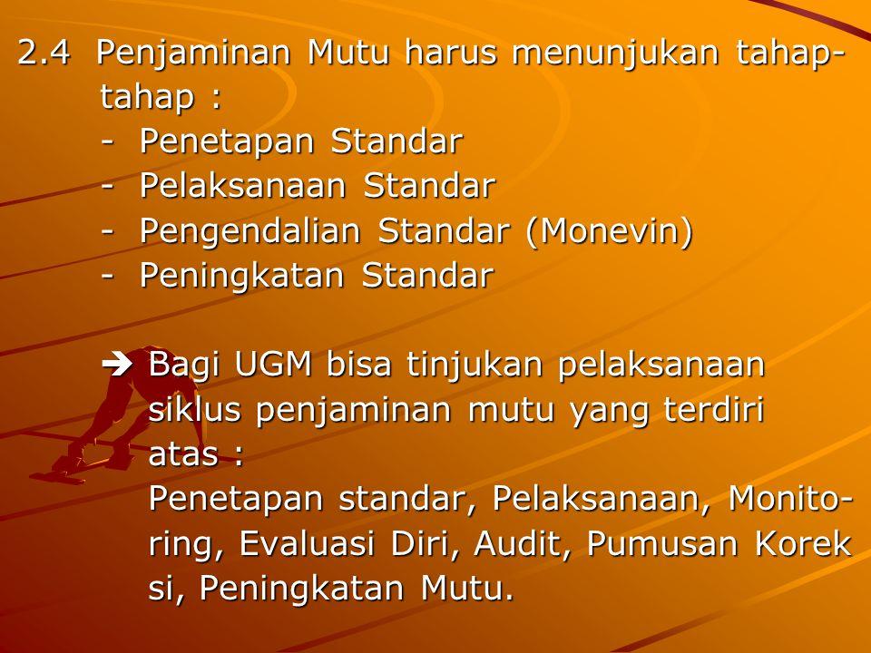 2.4 Penjaminan Mutu harus menunjukan tahap- tahap : tahap : - Penetapan Standar - Penetapan Standar - Pelaksanaan Standar - Pelaksanaan Standar - Peng