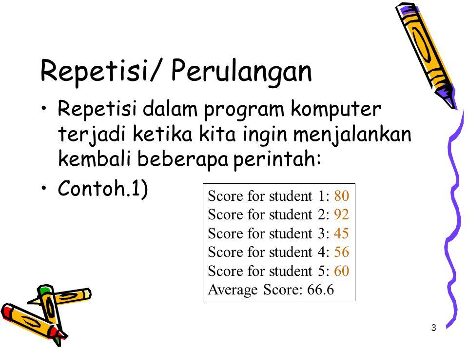 3 Repetisi/ Perulangan Repetisi dalam program komputer terjadi ketika kita ingin menjalankan kembali beberapa perintah: Contoh.1) Score for student 1: 80 Score for student 2: 92 Score for student 3: 45 Score for student 4: 56 Score for student 5: 60 Average Score: 66.6