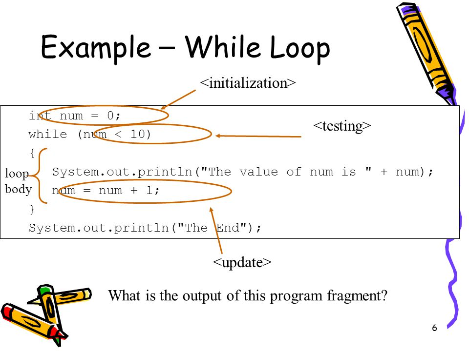 6 Example – While Loop int num = 0; while (num < 10) { System.out.println( The value of num is + num); num = num + 1; } System.out.println( The End ); loop body What is the output of this program fragment?