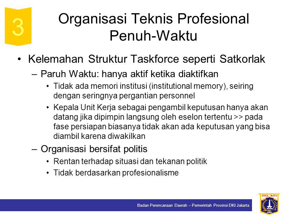 Badan Perencanaan Daerah – Pemerintah Provinsi DKI Jakarta Organisasi Teknis Profesional Penuh-Waktu Kelemahan Struktur Taskforce seperti Satkorlak –P