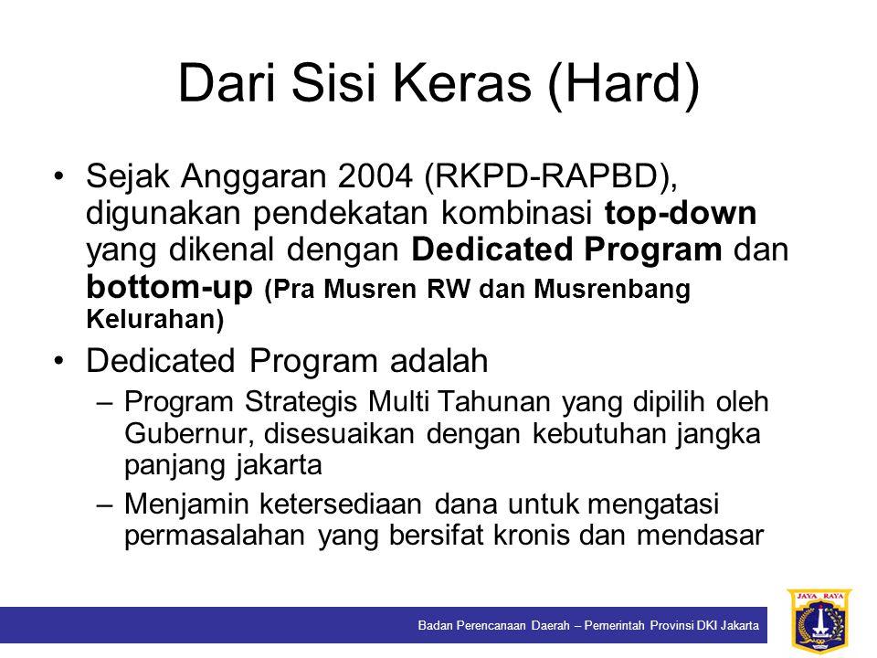 Badan Perencanaan Daerah – Pemerintah Provinsi DKI Jakarta Dari Sisi Keras (Hard) Sejak Anggaran 2004 (RKPD-RAPBD), digunakan pendekatan kombinasi top
