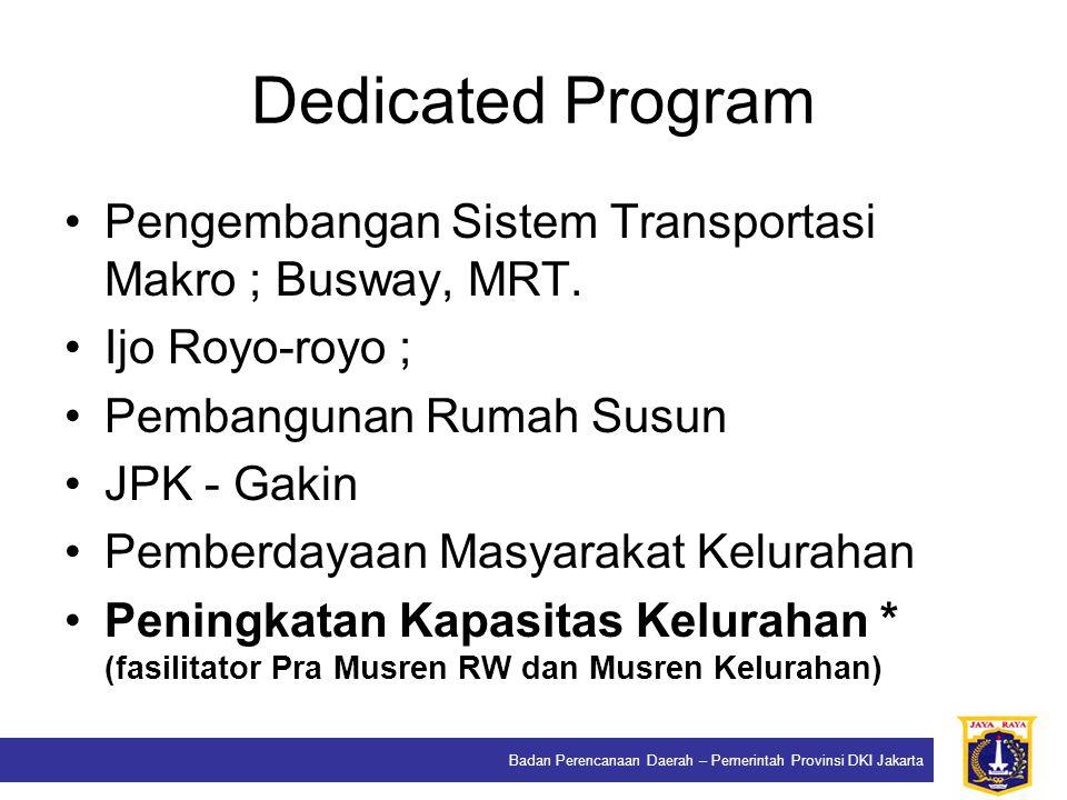 Badan Perencanaan Daerah – Pemerintah Provinsi DKI Jakarta Dedicated Program Pengembangan Sistem Transportasi Makro ; Busway, MRT. Ijo Royo-royo ; Pem