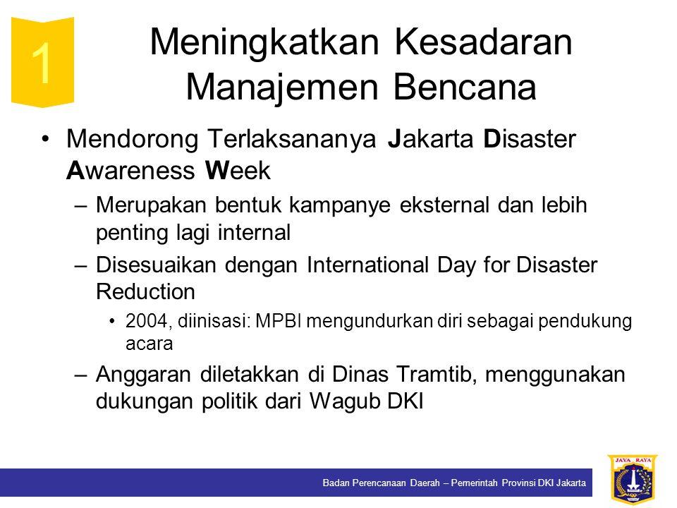 Badan Perencanaan Daerah – Pemerintah Provinsi DKI Jakarta Meningkatkan Kesadaran Manajemen Bencana Mendorong Terlaksananya Jakarta Disaster Awareness