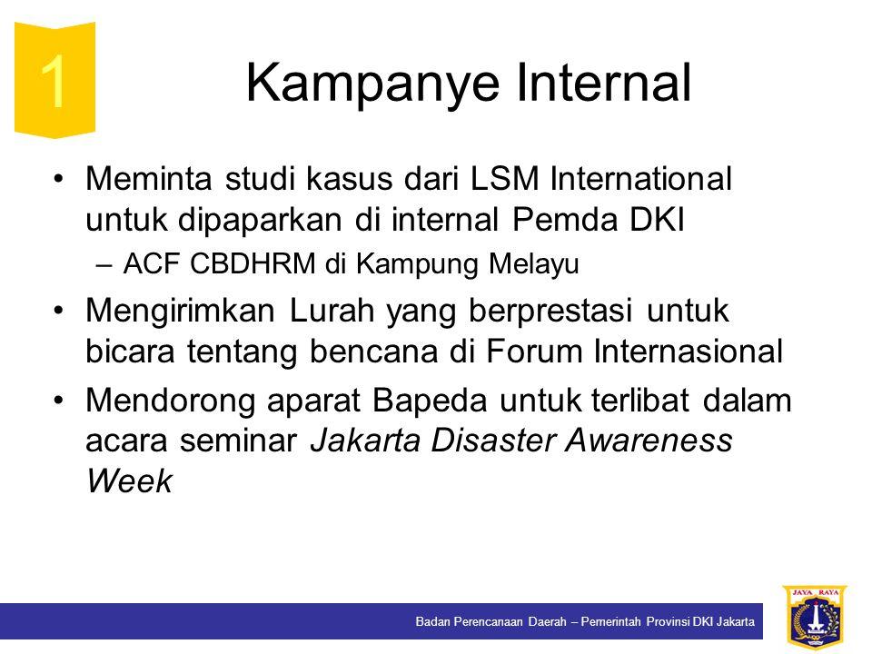 Badan Perencanaan Daerah – Pemerintah Provinsi DKI Jakarta Kampanye Internal Meminta studi kasus dari LSM International untuk dipaparkan di internal P