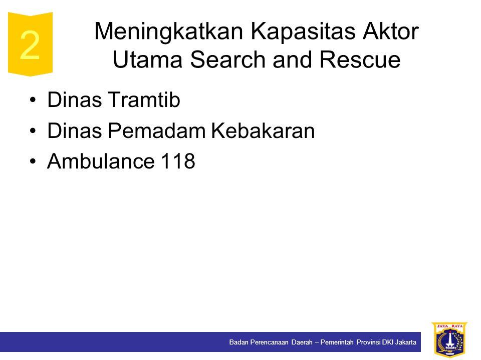 Badan Perencanaan Daerah – Pemerintah Provinsi DKI Jakarta Meningkatkan Kapasitas Aktor Utama Search and Rescue Dinas Tramtib Dinas Pemadam Kebakaran Ambulance 118 2