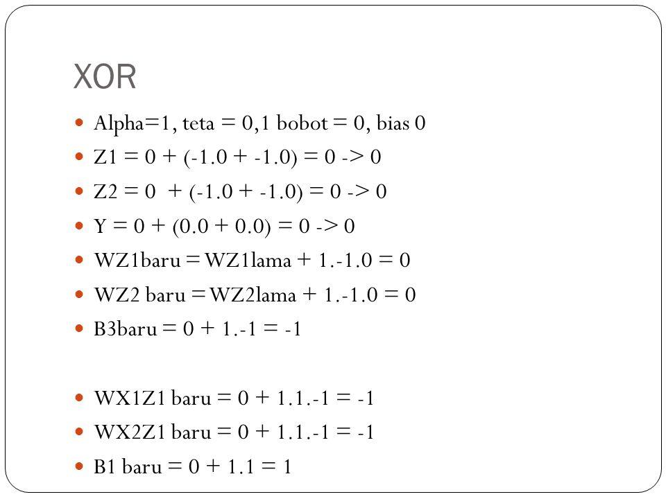 XOR Alpha=1, teta = 0,1 bobot = 0, bias 0 Z1 = 0 + (-1.0 + -1.0) = 0 -> 0 Z2 = 0 + (-1.0 + -1.0) = 0 -> 0 Y = 0 + (0.0 + 0.0) = 0 -> 0 WZ1baru = WZ1lama + 1.-1.0 = 0 WZ2 baru = WZ2lama + 1.-1.0 = 0 B3baru = 0 + 1.-1 = -1 WX1Z1 baru = 0 + 1.1.-1 = -1 WX2Z1 baru = 0 + 1.1.-1 = -1 B1 baru = 0 + 1.1 = 1