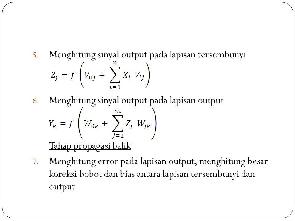 5. Menghitung sinyal output pada lapisan tersembunyi 6. Menghitung sinyal output pada lapisan output Tahap propagasi balik 7. Menghitung error pada la