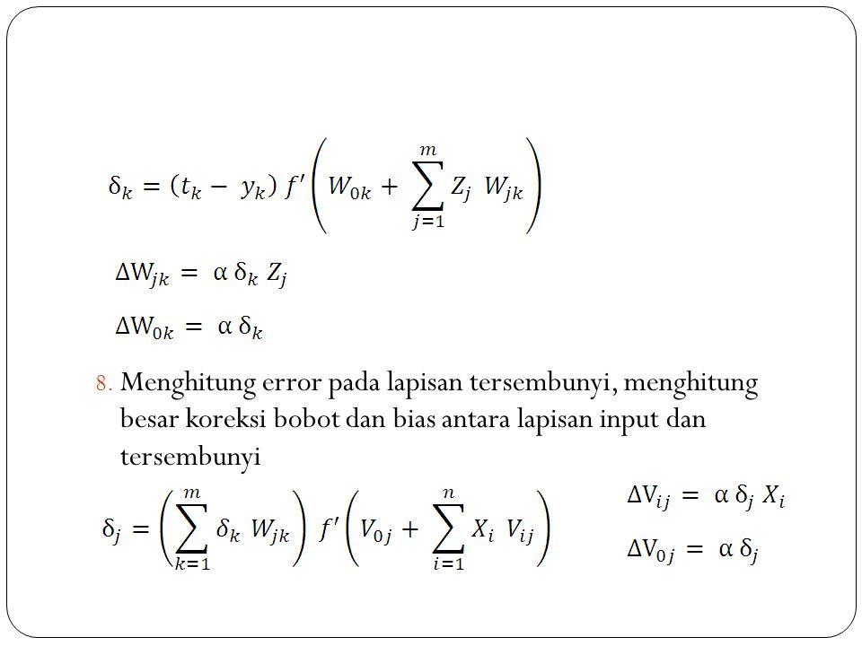 8. Menghitung error pada lapisan tersembunyi, menghitung besar koreksi bobot dan bias antara lapisan input dan tersembunyi
