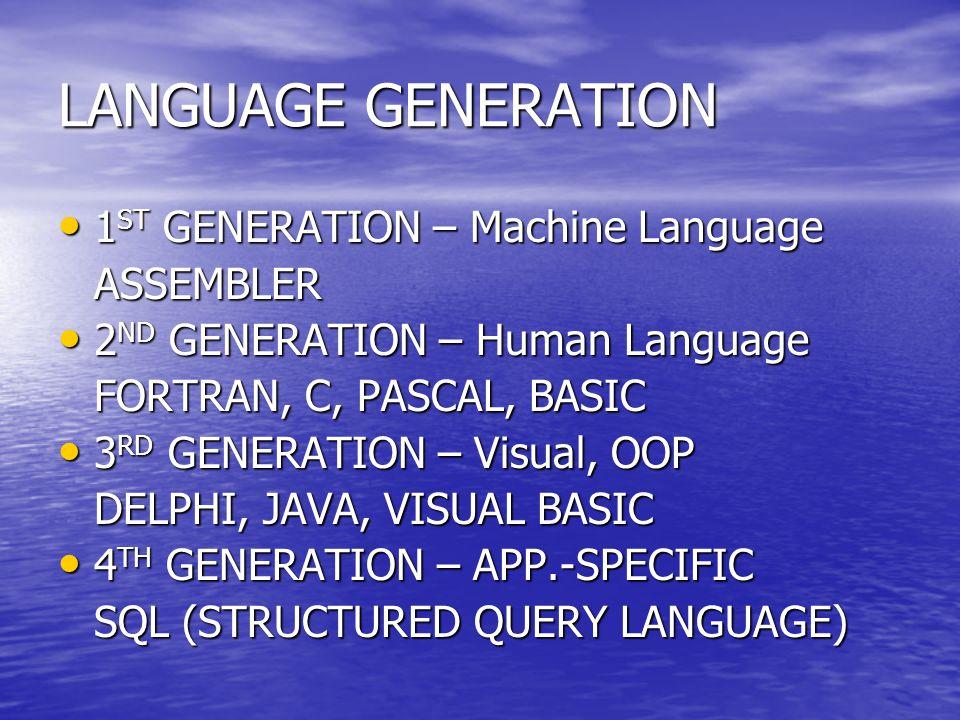 LANGUAGE GENERATION 1 ST GENERATION – Machine Language 1 ST GENERATION – Machine LanguageASSEMBLER 2 ND GENERATION – Human Language 2 ND GENERATION –