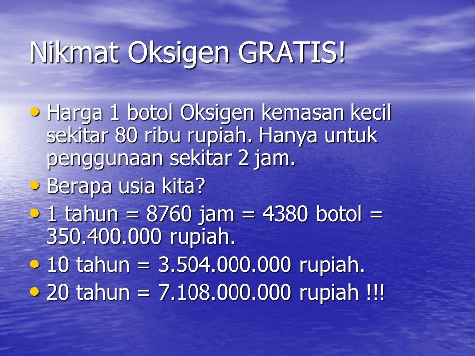 Nikmat Oksigen GRATIS! Harga 1 botol Oksigen kemasan kecil sekitar 80 ribu rupiah. Hanya untuk penggunaan sekitar 2 jam. Harga 1 botol Oksigen kemasan