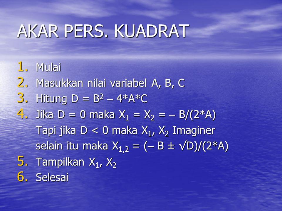 AKAR PERS. KUADRAT 1. Mulai 2. Masukkan nilai variabel A, B, C 3. Hitung D =B 2 – 4*A*C 3. Hitung D = B 2 – 4*A*C 4. Jika D = 0 maka X 1 = X 2 = – B/(