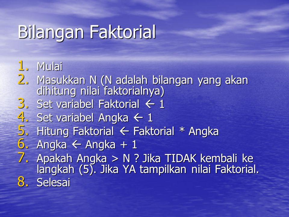 Bilangan Faktorial 1. Mulai 2. Masukkan N (N adalah bilangan yang akan dihitung nilai faktorialnya) 3. Set variabel Faktorial  1 4. Set variabel Angk