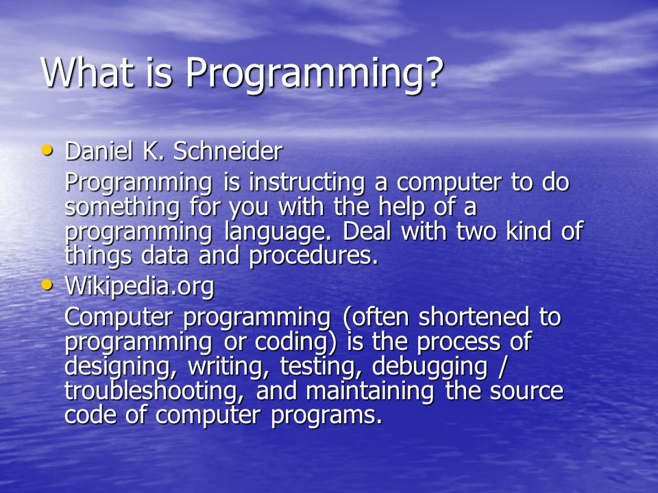 What is Programming.