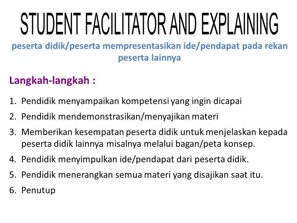 Langkah-langkah : 1.Pendidik menyampaikan kompetensi yang ingin dicapai 2.Pendidik mendemonstrasikan/menyajikan materi 3.Memberikan kesempatan peserta