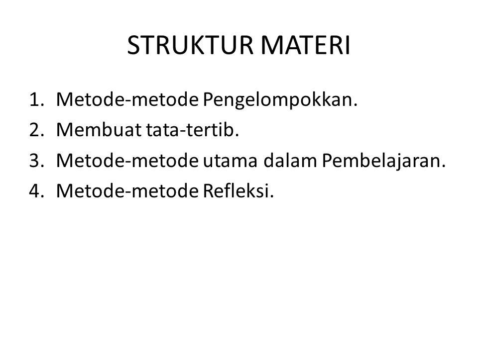 STRUKTUR MATERI 1.Metode-metode Pengelompokkan. 2.Membuat tata-tertib. 3.Metode-metode utama dalam Pembelajaran. 4.Metode-metode Refleksi.
