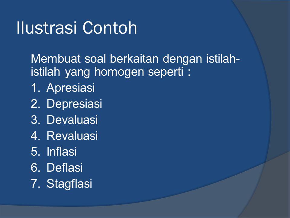 Ilustrasi Contoh Membuat soal berkaitan dengan istilah- istilah yang homogen seperti : 1.Apresiasi 2.Depresiasi 3.Devaluasi 4.Revaluasi 5.Inflasi 6.Deflasi 7.Stagflasi