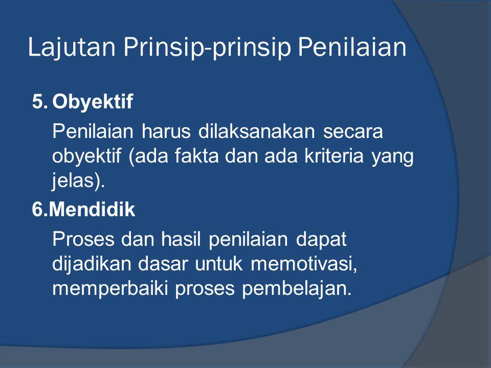 Lajutan Prinsip-prinsip Penilaian 5.Obyektif Penilaian harus dilaksanakan secara obyektif (ada fakta dan ada kriteria yang jelas). 6.Mendidik Proses d