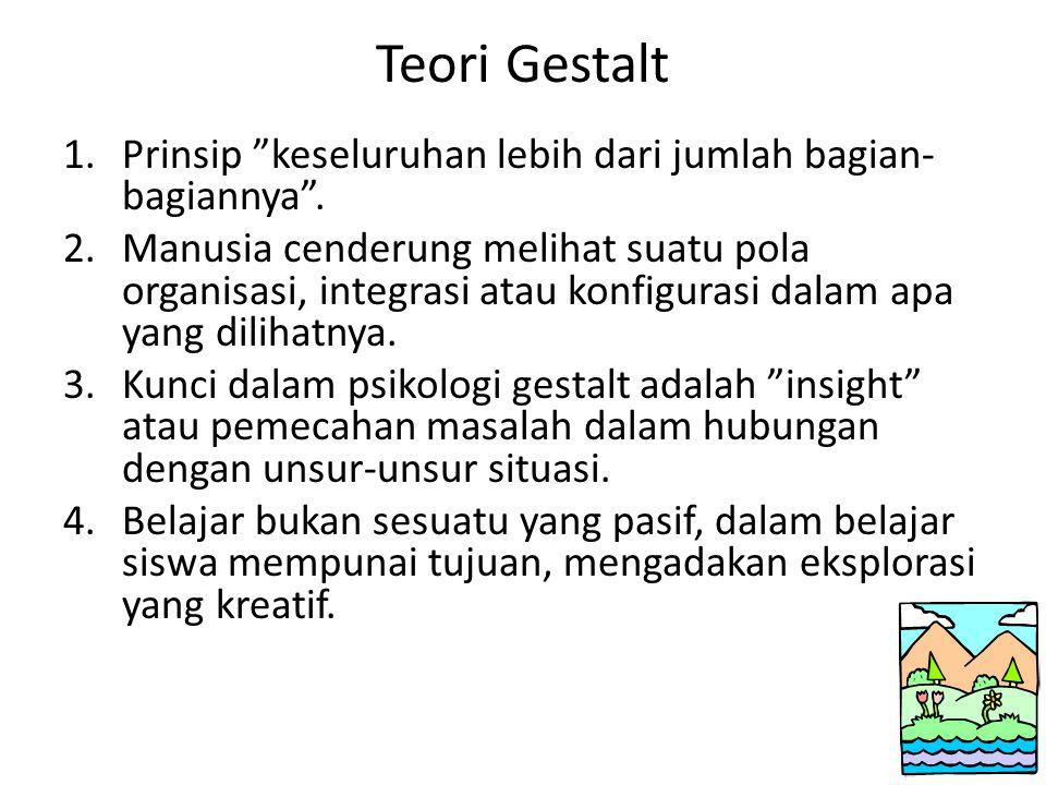 """Teori Gestalt 1.Prinsip """"keseluruhan lebih dari jumlah bagian- bagiannya"""". 2.Manusia cenderung melihat suatu pola organisasi, integrasi atau konfigura"""