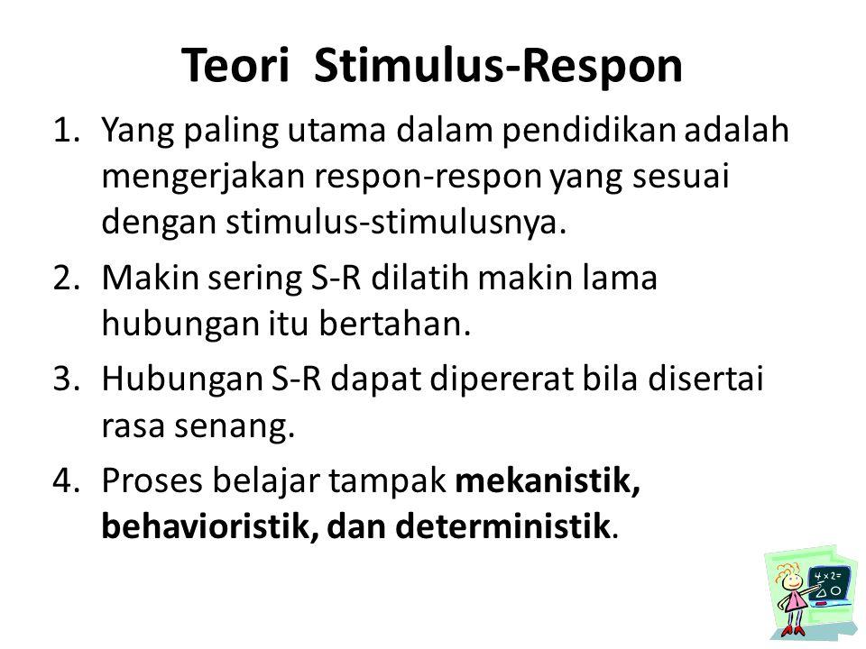 Teori Stimulus-Respon 1.Yang paling utama dalam pendidikan adalah mengerjakan respon-respon yang sesuai dengan stimulus-stimulusnya. 2.Makin sering S-