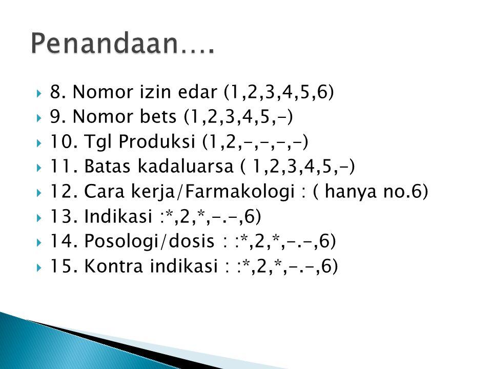  8. Nomor izin edar (1,2,3,4,5,6)  9. Nomor bets (1,2,3,4,5,-)  10. Tgl Produksi (1,2,-,-,-,-)  11. Batas kadaluarsa ( 1,2,3,4,5,-)  12. Cara ker
