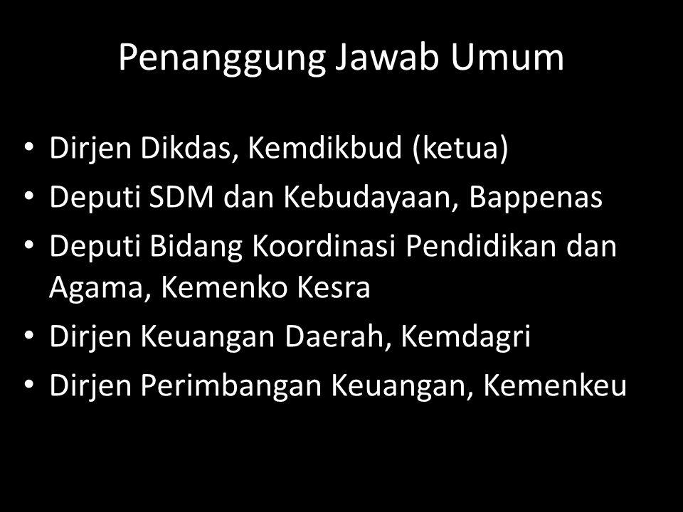 Penanggung Jawab Umum Dirjen Dikdas, Kemdikbud (ketua) Deputi SDM dan Kebudayaan, Bappenas Deputi Bidang Koordinasi Pendidikan dan Agama, Kemenko Kesr